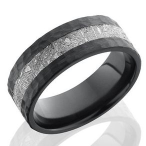 meteorite and ziconium black band by serge depoyan - Meteorite Wedding Rings