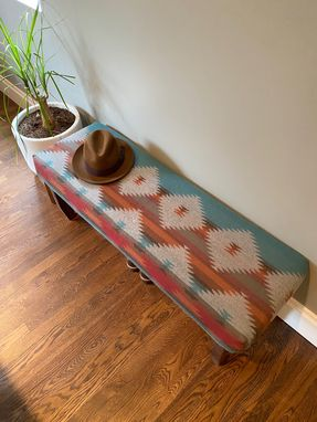 Custom Made Handmade Upholstered Walnut Bench For Entryway, Bedroom, Dining, Living Room