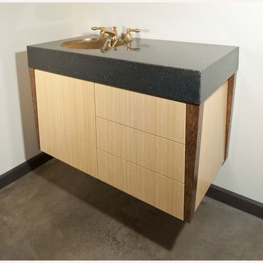Custom Made Concrete Fusion Sink On Floating Bamboo Cabinet