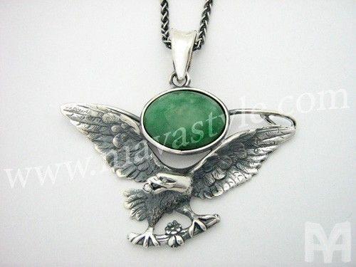 Handmade sterling silver eagle bird pendant jade stone diamond by sterling silver eagle bird pendant jade stone diamond mozeypictures Gallery
