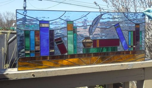 "Custom Made Stained Glass Transom - ""Written Treasures"" (Tw-57)"