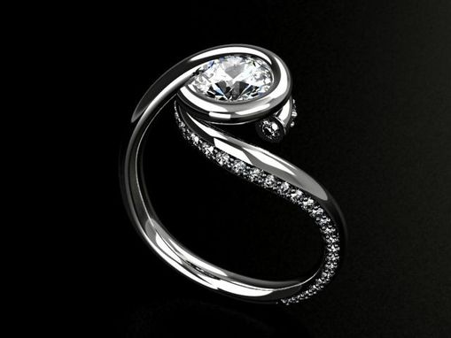 Custom Made Palladium Diamond Swirl Ring