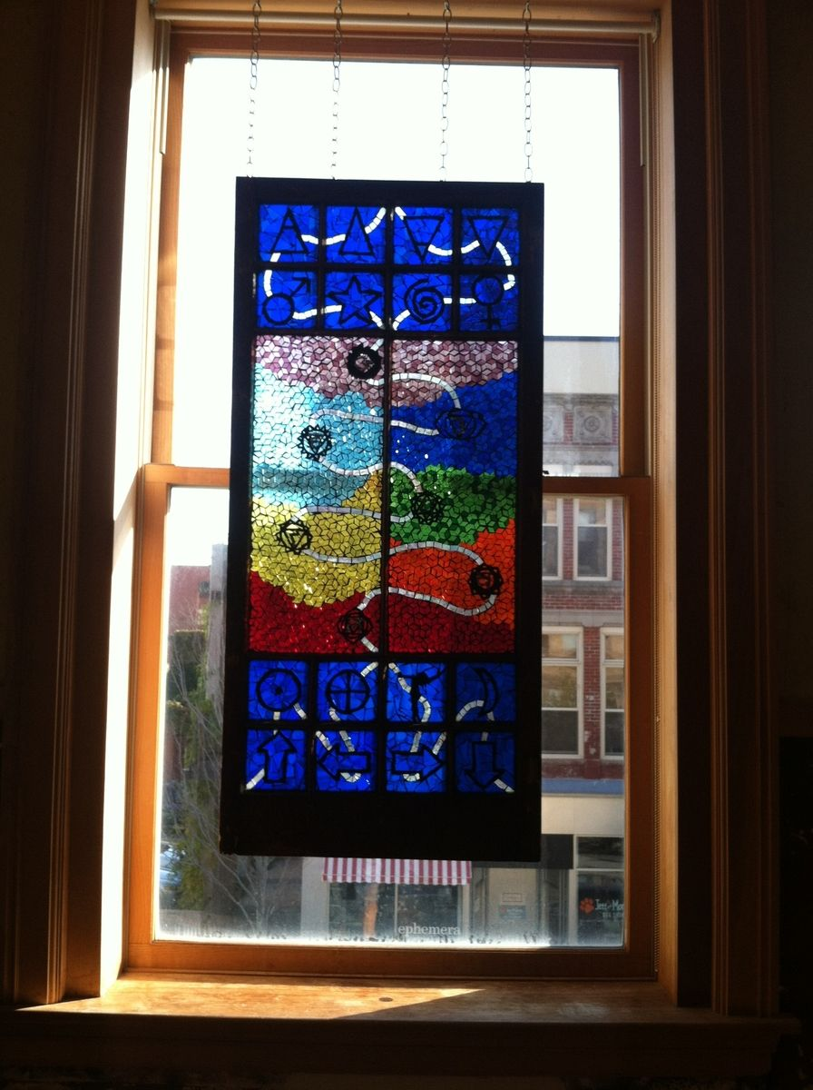 Custom Made Stained Gl Mosaic Window Hanging