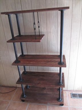 Custom Made Industrial Pipe And Reclaimed Oak Shelving With Casters