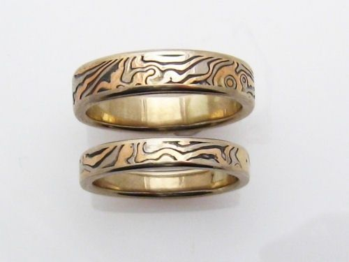 rose shakudo etsy wide mokume gold band via pin with and gane rings edges white