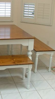 Custom Made Custom Kitchen Dining Table With Matching Benches