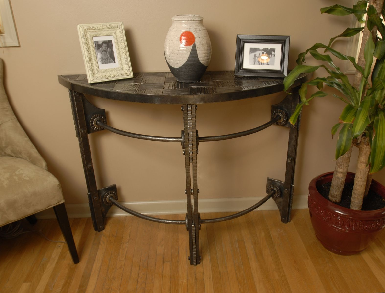 Half Round Console Table custom hand forged iron half round console tablearc iron
