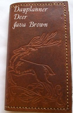 Custom Made Custom Leather Day Planner With Deer Design And In Java Brown