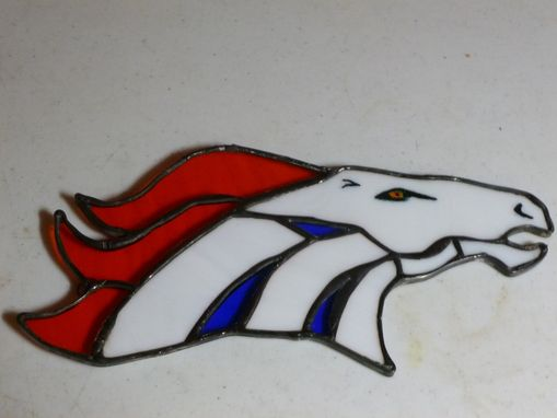 Custom Made Denver Broncos Commemorative Stained Glass Art