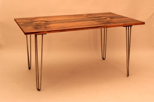 Custom Made Dt-65 Old Pine Top W/Mid-Century Modern Stainless Steel Hairpin Legs