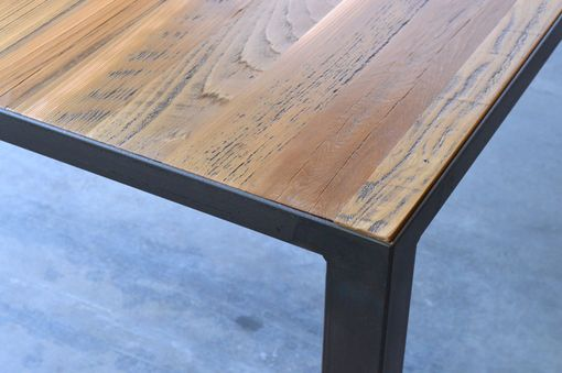 Custom Made Reclaimed Wood And Blackened Steel Dining Table
