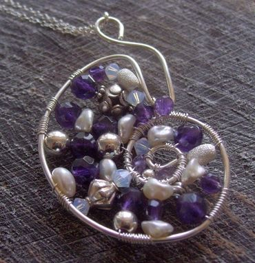 Custom Made Hand Forged Nautilus Seashell Pendant Sterling Wire Wrapped Gemstone Amethyst And Pearl
