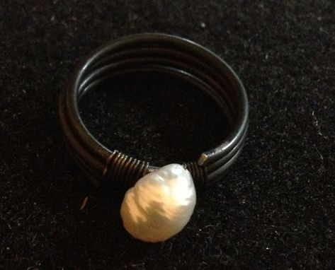 Custom Made Steel Wire Ring With Freshwater Pearl