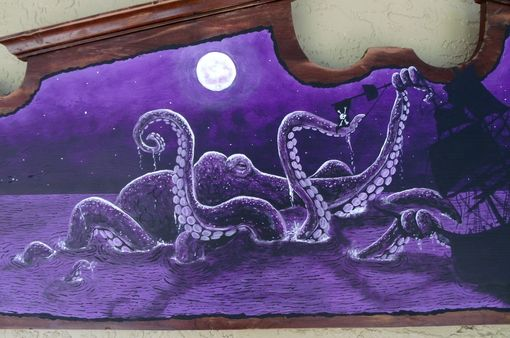 Custom Made Purple Kraken Attacking Pirate Ship