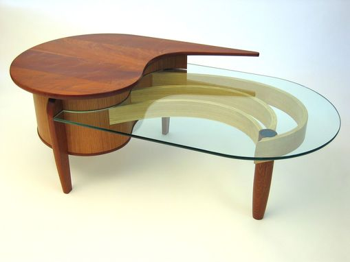 Custom Made Mahogany, Cherry And Glass Coffee Table