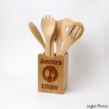 Custom Made Personalized Kitchen Decor - Bamboo Wood Utensil Holder