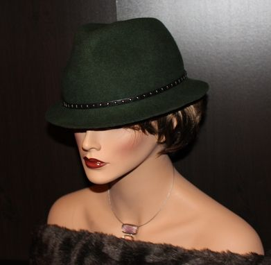 Custom Made Classy And Cool Green Wool Felt Fedora Hat