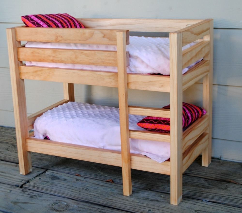 Handmade stained wooden 18 inch doll bunk bed by bloomin for Wooden bunkbeds