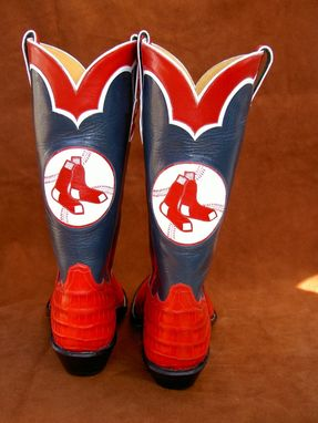 Custom Made Boston Red Sox Boots W/ Alligator Lowers