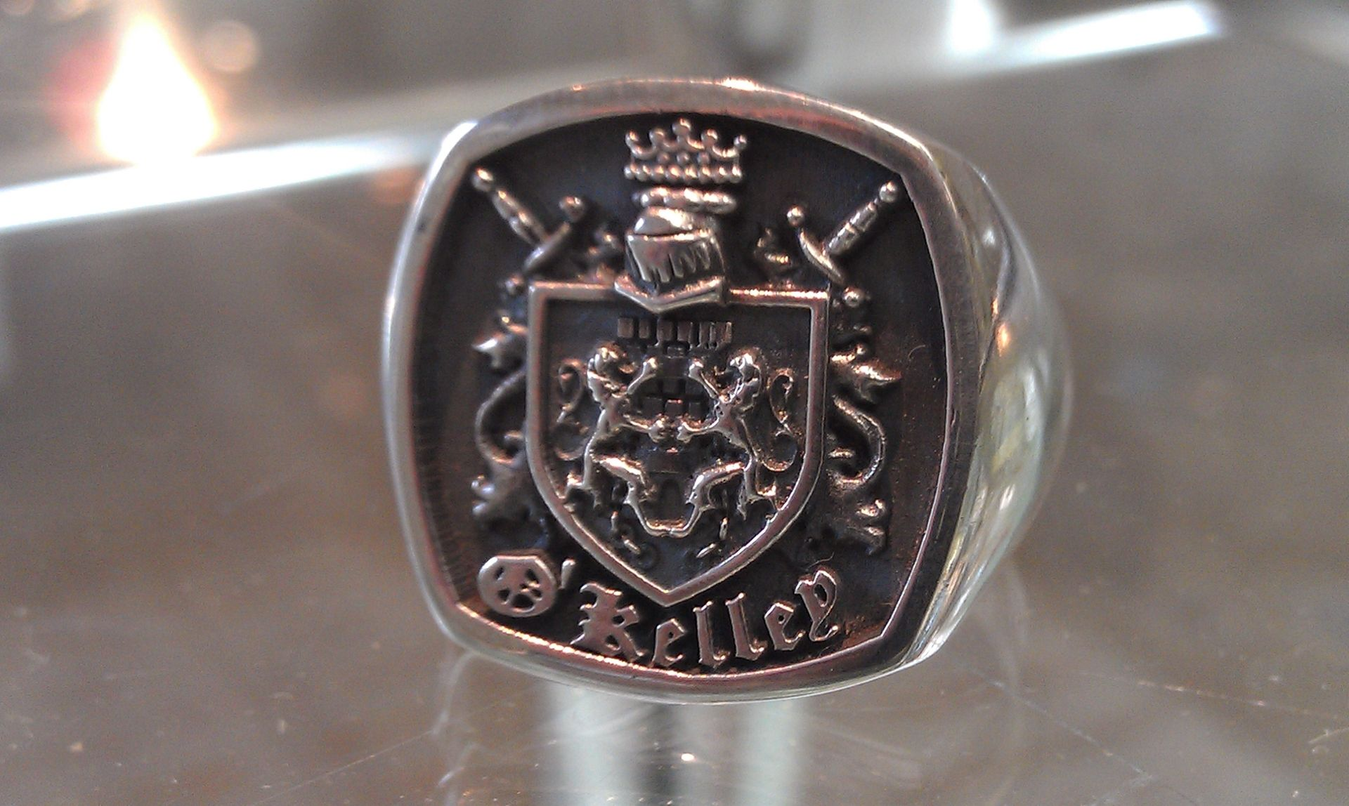 Custom Sterling Silver Family Crest Ring For Men by Paul Michael