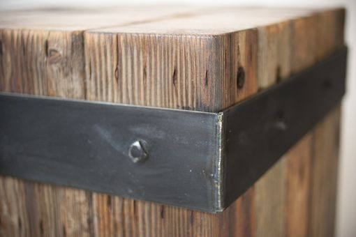 Custom Made Reclaimed Bundled Wood Beams & Steel Strap Accent Table. Coffee Table, Bistro/Cafe Table