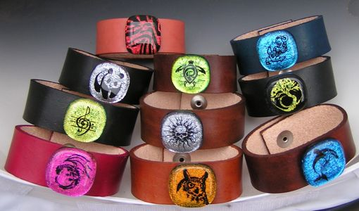 Custom Made Leather Bracelets With Dichroic Cabochon