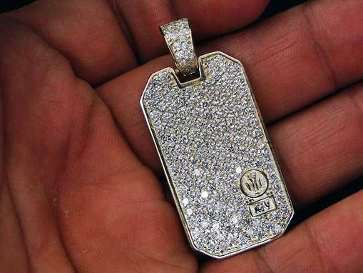 Custom Made Diamond Dog Tag Pendant