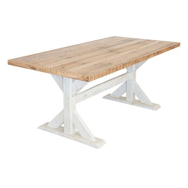 Custom Made Reclaimed Barnwood Trestle-Style Dining Table