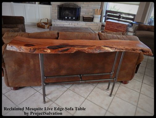 Custom Made Live Edge Mesquite Sofa Table
