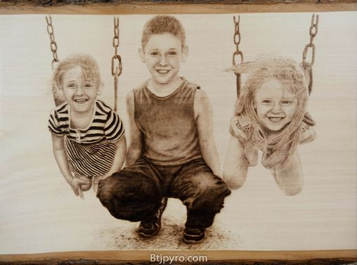 Custom Made Kids Portrait - Woodburning