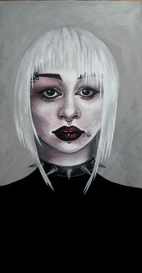 Custom Made Riveted-Acrylic On Canvas Portrait Of A Woman With Goth Makeup And Piercings