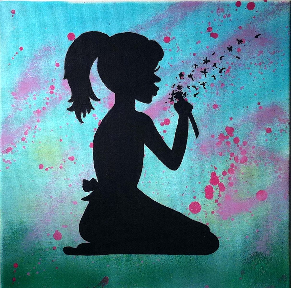 Romantic bedroom ideas for her - Hand Crafted Silhouette Painting On Canvas By Christina
