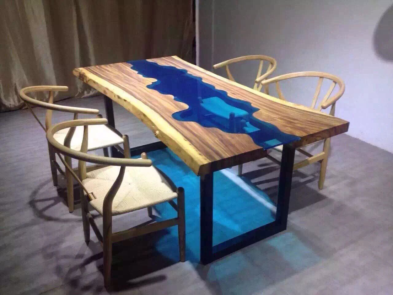 Custom made acacia live edge river wood and glass dining for Wooden glass dining table designs