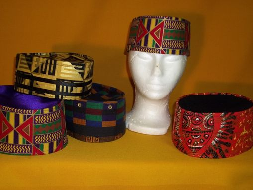 Custom Made Kente Cloth Crowns In Cotton W/ Metellac Prints And Woven Cotton Mulit-Colored
