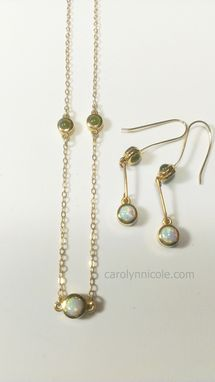 Custom Made 14k Gold Jade And Opal Necklace And Earrings