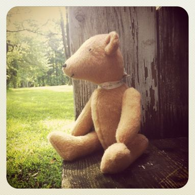Custom Made Vintage Teddy Bear Traditional Furry Felt /Hand Stitched /Jointed Recycled Materials
