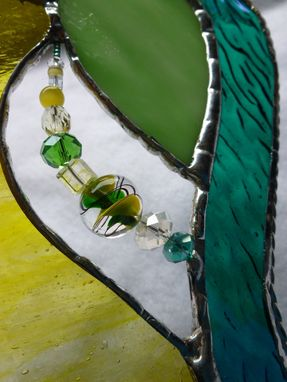 Custom Made Lime-Green Colored Beaded Stained Glass Heart