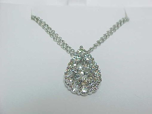 Custom Made Pear Halo Necklace