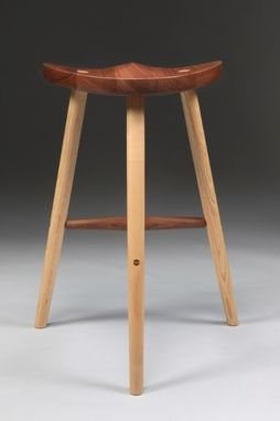 Custom Made Wooden Stool With Carved Seat