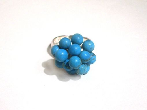 Custom Made 3 Tier Grape Cluster Cocktail Ring Sterling Silver With Turquoise Beads