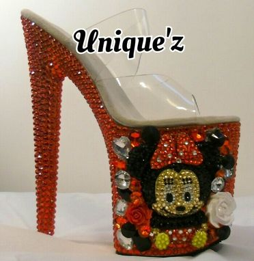 Custom Made 3d Minnie Mouse Rhinestoned Platform Heels