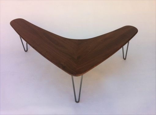 Custom Made Boomerang Coffee Table W/ Hairpin Legs Made Of Solid Walnut In Mid Century Modern