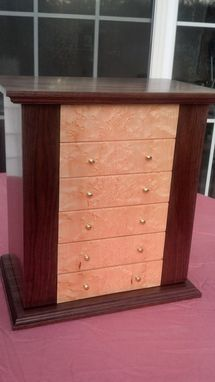 Custom Made 5 Drawer Wooden Jewelry Box With Birds Eye Maple