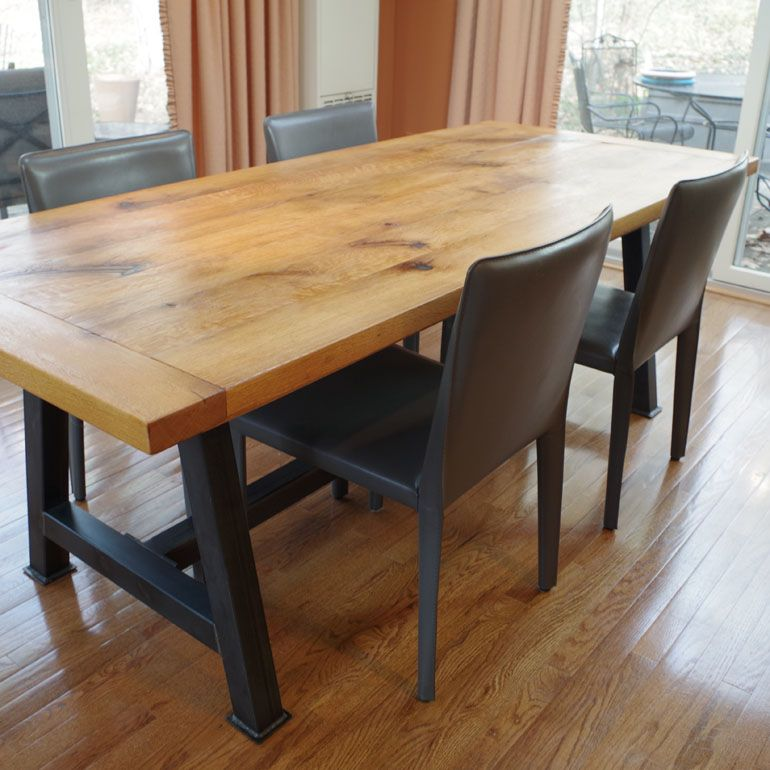 Hand Made Rustic Oak Dining Table by Chagrin Valley Custom ...
