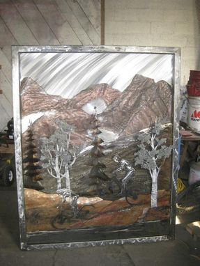 Custom Made Mountain Bikers And Timp Relief, Fabricated Metal Sculpture