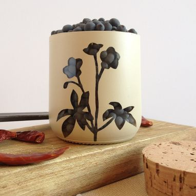 Custom Made Spice Jar, Salt Cellar, Kitchen Storage, Ivory With Botanical Flower