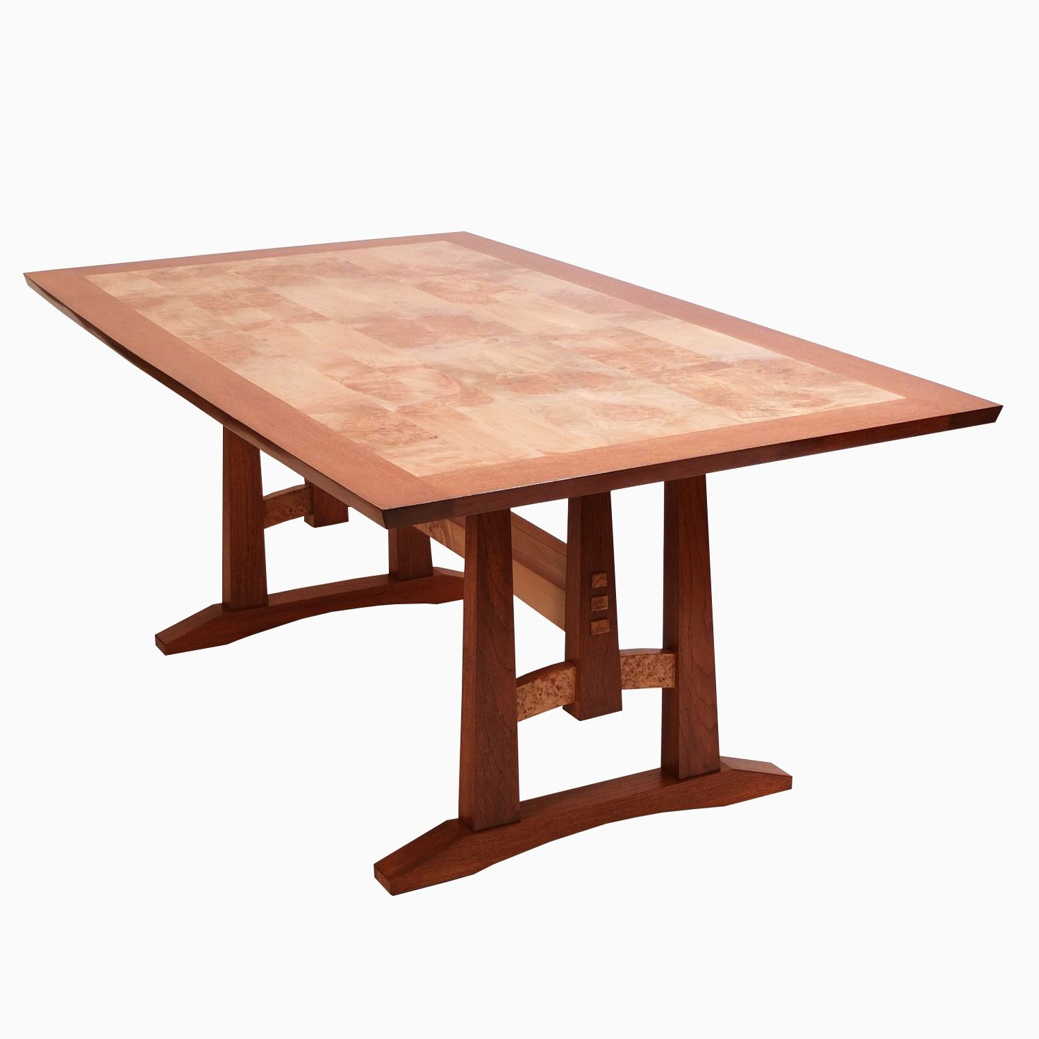 Hand Crafted Oak And Burl Maple Dining Table By Dogwood