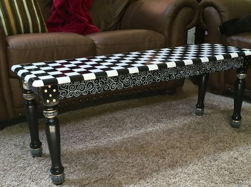 Custom Made Hand Painted Black And White Farmhouse Bench