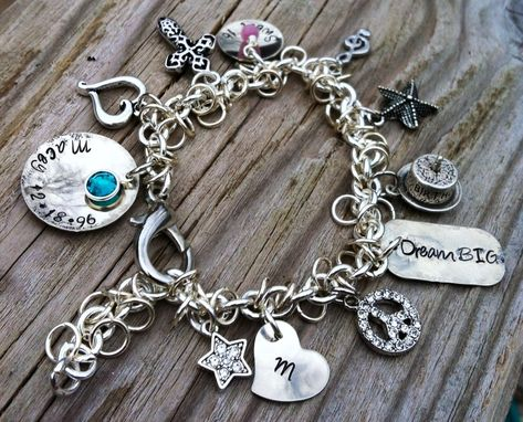 Custom Made Custom Hand Stamped Charm Bracelet Sweet 16 Mom Happy Birthday Anniversary
