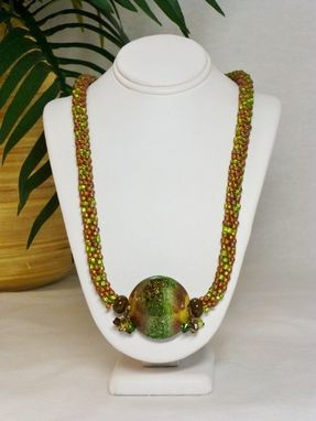 Custom Made Matte Browns And Green Kumihimo Necklace With Lampwork Focal Bead